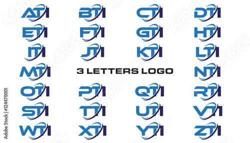 3 letters modern generic swoosh logo ATI, BTI, CTI, DTI, ETI, FTI, GTI, HTI,ITI, Canvas Print