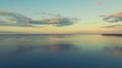 Aerial Drone Flight Footage: Beautiful Sky and Calm Water in sunset soft light. Magestic landscape. Kiev Sea, Ukraine, Europe. 4K resolution.