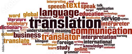 Fotografía  Translation word cloud concept. Vector illustration