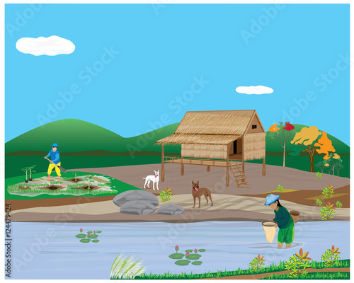 Canvas Prints River, lake lifestyle of agriculturist vector design