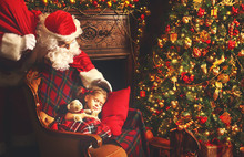 Santa Claus Came To Sleeping Child Girl In Christmas