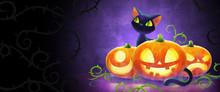 Black Cat Behind Halloween Pumpkins Cartoons Vector Illustration. Happy Halloween Greeting Concept Banner.