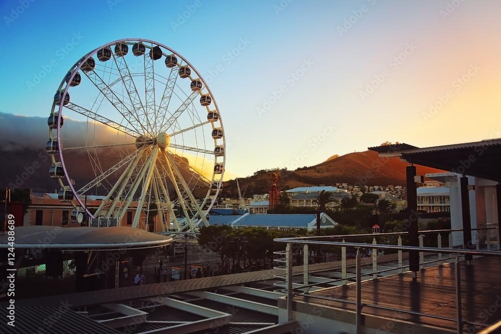 Fototapeta  Cape Town Waterfront Wheel at sunset