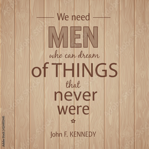 Typographical Background Illustration with quote Kennedy Canvas Print