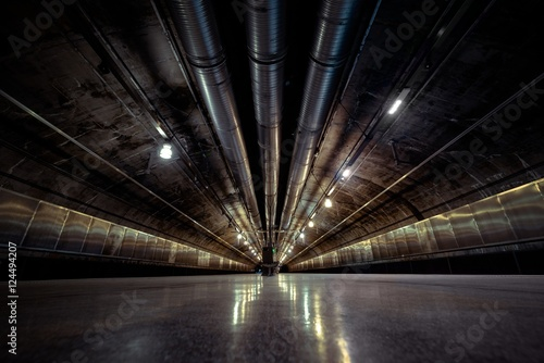 Underground tunnel for the subway Canvas Print
