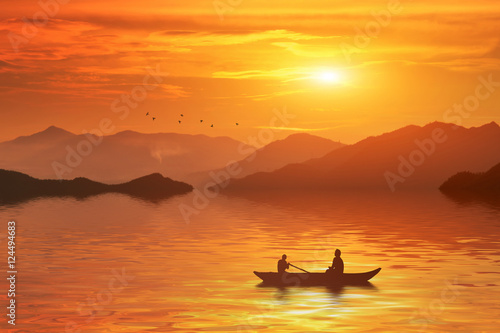 Canvas Prints Honey In the morning a man riding boat in the river of bangladesh