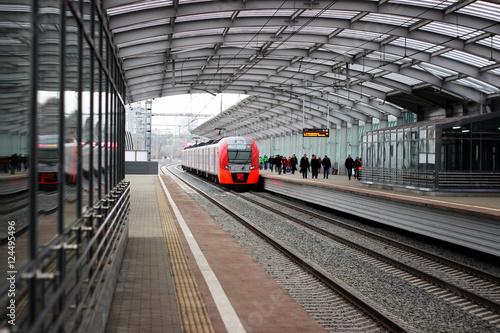 Zdjęcie XXL Kolejowa stacja metra. Peron, jedna ze stacji w Moskwie.