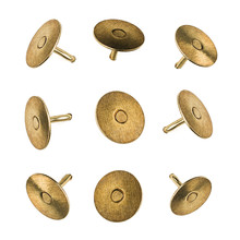 Closeup Set Of Metal Pushpins Isolated On White Background