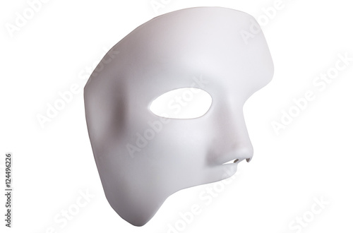 Photo White Scary Halloween mask isolated on white background.