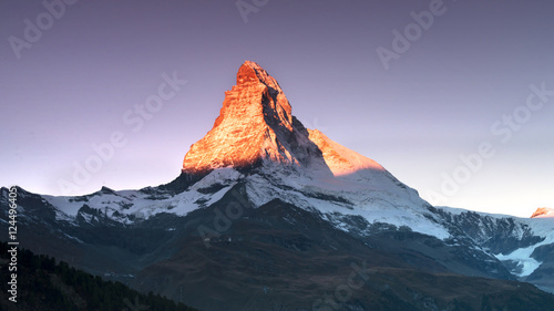 Fotografie, Obraz  Matterhorn at the sunrise colors