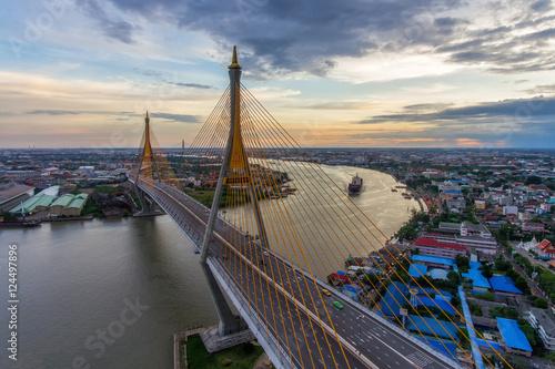 In de dag Rio de Janeiro Bangkok river skyline. Bhumibol Bridge aerial view from aerial view.