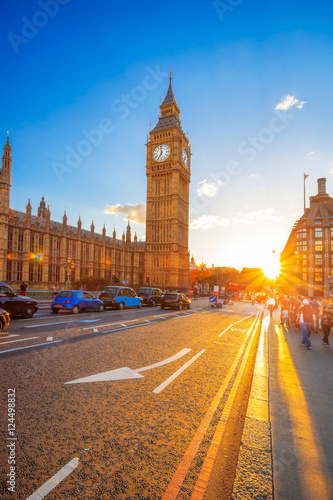 Foto op Canvas Londen rode bus Big Ben against colorful sunset in London, UK