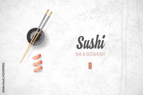 Fototapeta Concept design of the invitation sushi restaurant. Vector illust obraz