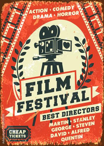 Plakat na zamówienie Grunge retro film festival poster. Vector illustration.