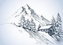 Winter Landscape In The Mountains. A Cabin In The Snow