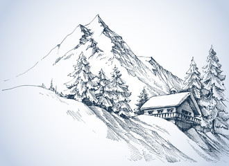 Panel Szklany Góry Winter landscape in the mountains. A cabin in the snow