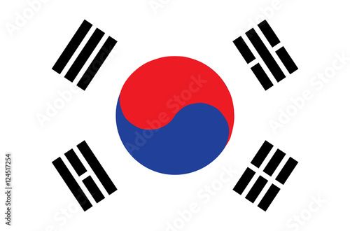 Fotomural Flag of South Korea. Accurate dimensions, element proportions an