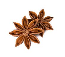 Star Anise Isolated On White Background.