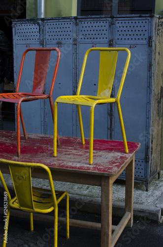 chaise, jaune, rouge, metal, métal, acier, tole, peint ...