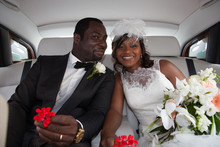Happy Newlyweds Of Beautiful Bride Woman In Car For Wedding Black Couple