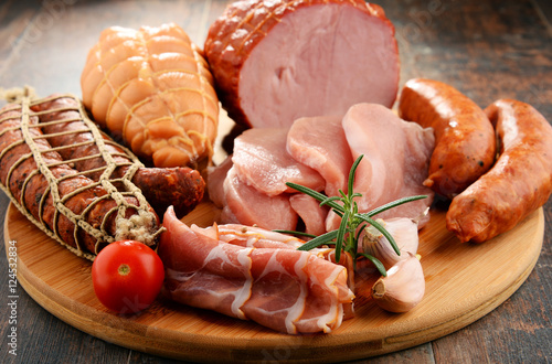 Fotografering  Meat products including ham and sausages