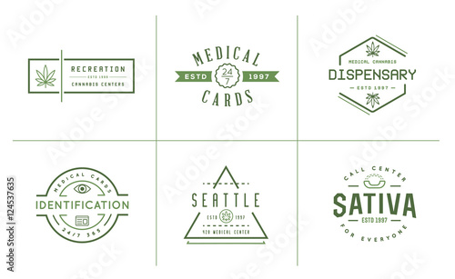 set of medical cannabis marijuana sign or label template in vect