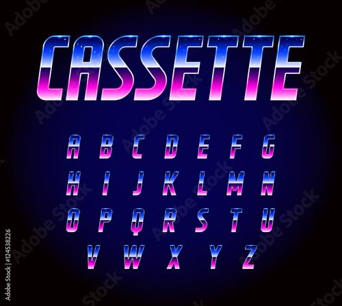 Fotografia  80s Retro Futurism Sci-Fi Font Alphabet Vector