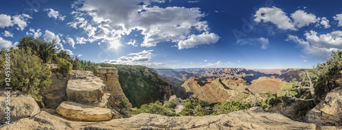 Poster Parc Naturel full 360 degree panorama of Grand Canyon South Rim, Grandview Point, Arizona, USA