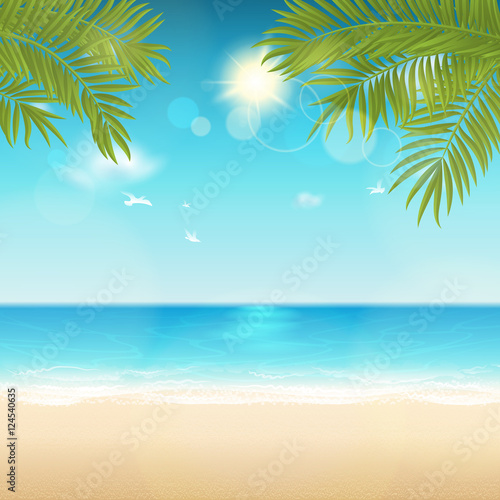 Poster Turquoise Vector summer background with space for text. Blur effect. Easy editable - all elements are separated. File contains clipping mask.