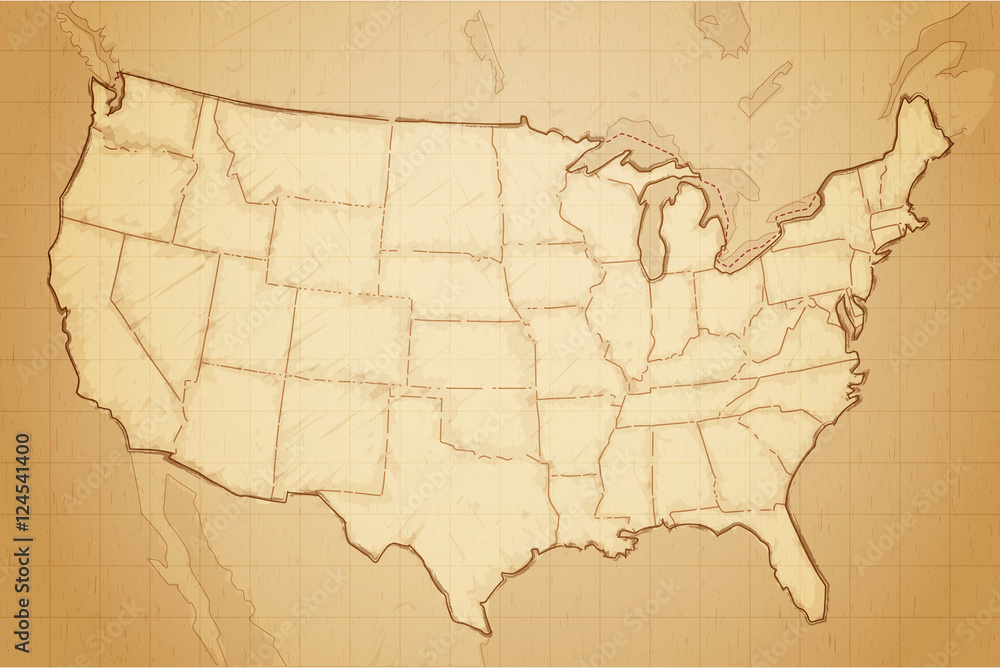 Vintage retro textured old map of United States of America vector ...