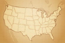 Vintage Retro Textured Old Map Of United States Of America Vector Illustration