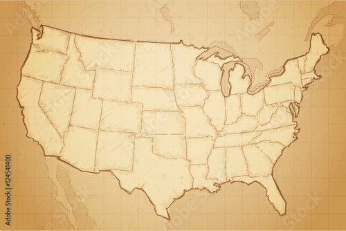 Stampe Vintage retro textured old map of United States of America vector illustration