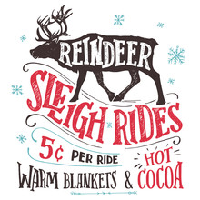 Old Fashioned Reindeer Sleigh ...
