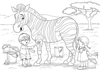Fototapeta na wymiar At the zoo. African animals. Cute boy and girl are painting zebra's strips in different colors. Illustration for children. Coloring book. Coloring pages. Cartoon characters.