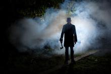 Spooky Man Wih Axe In The Dark...