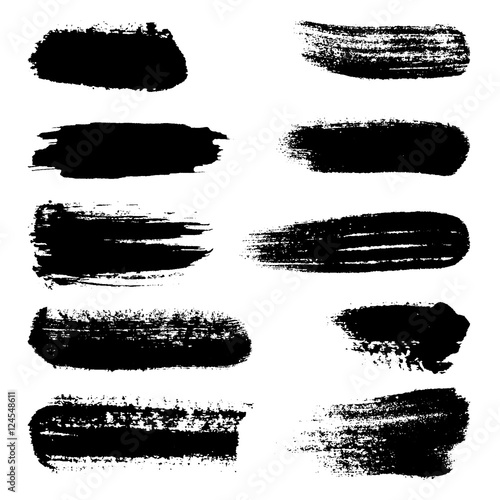 Fototapety, obrazy: Black ink vector brush strokes, isolated, vector illustration