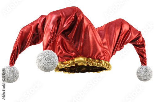 Photo jester hat isolated on white background. 3d illustration.