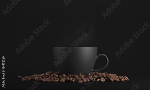 Black cup of coffee against black background