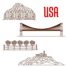 American Nature Landmarks And Sightseeing Symbols