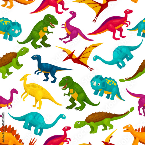 Fotografering  Cartoon dinosaurs children seamless pattern