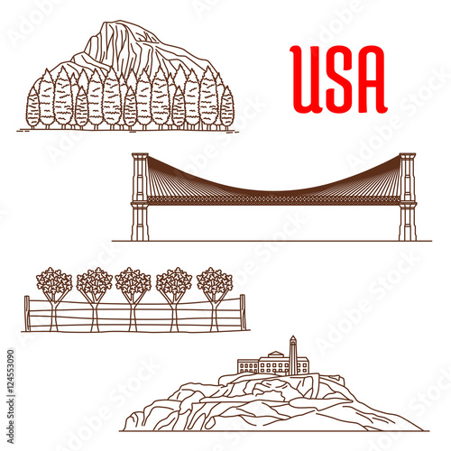 American nature landmarks and sightseeing symbols Wallpaper Mural