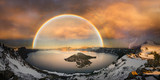 Fototapeta Tęcza - Crater lake with double rainbow and lightning bolt