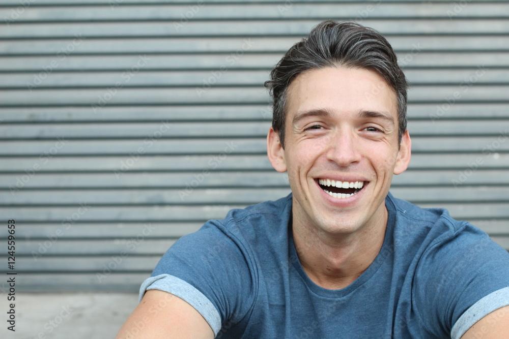 Fototapeta Laughing big white smile perfect straight teeth dental patient headshot male youthful genuine