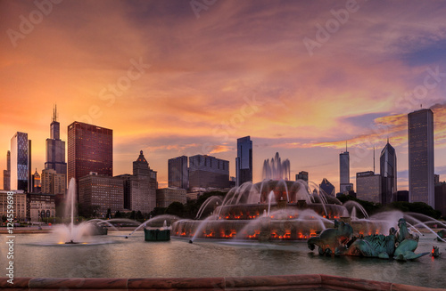Foto op Aluminium Chicago Chicago Skyline at Sunset