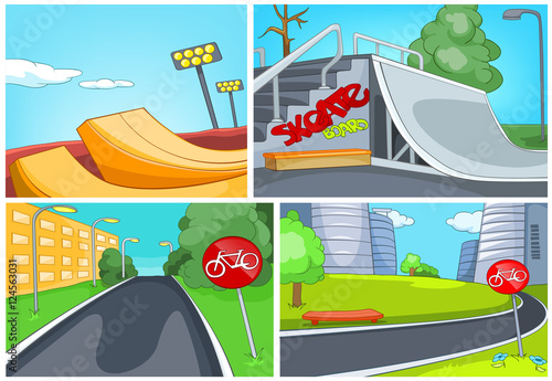 Foto op Canvas Schepselen Cartoon set of skatepark and bike lane backgrounds