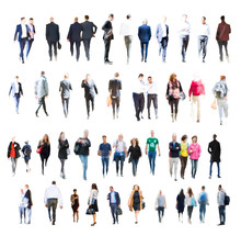 Set Of Business People Walking. Blurred Silhouettes Against Of White Background