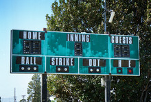 Old Vintage Green Baseball Scoreboard