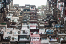 Old Apartment, Colorful Apartment Building In Quarry Bay In Hong Kong, Old Houses Surrounded Hong Kong Is Popular Tourist Destination Of Asia And Leading Financial Centre Of The World