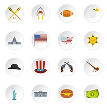 USA Icons Set. Flat Illustration Of 16 USA Vector Icons For Web