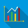 Growth chart icon. Flat illustration of growth chart vector icon for